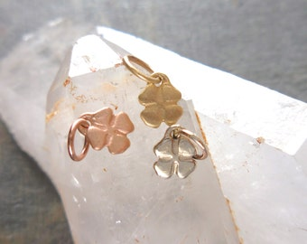 Four Leaf Clover Pendant, Gold Clover, Lucky Charm, 4 Leaf Clover Charm, Yellow, Rose and White Gold, Matte, Polish, Clover Pendant