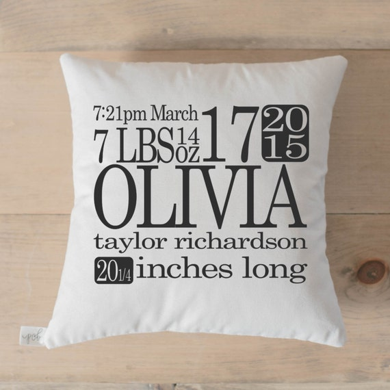 Personalized throw pillow birth stats home decor present personalized throw pillow birth stats home decor present new baby gift nursery pillow newborn photo prop throw cushion cover negle Images