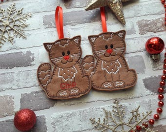 Gingerbread cat, felt gingerbread men personalised Christmas tree decoration