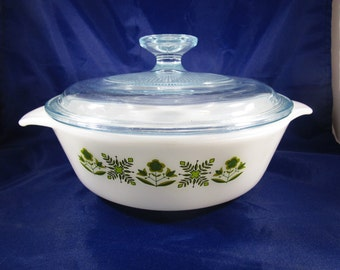 Lidded Baking Dish, Anchor Hocking Green Meadow, Anchor Hocking 436, 1 Qt., Lidded Casserole Dish, Baking Dish with Lid