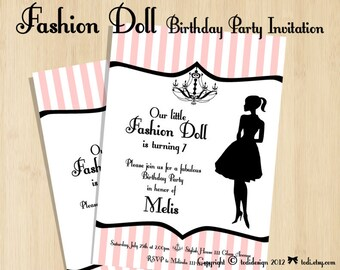 Birthday party Invitations - Fashion Doll Party - Printable digital file
