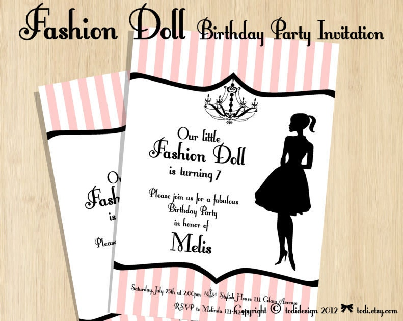 Birthday party Invitations Fashion Doll Party Printable