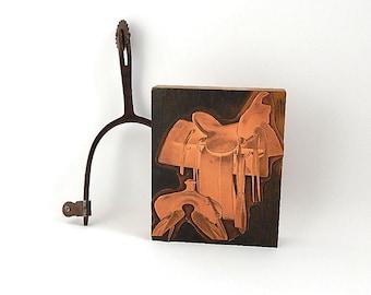 Western Saddle Print Block, Vintage Copper Plate Letterpress Stamp, Bureau of Engraving Printers Block