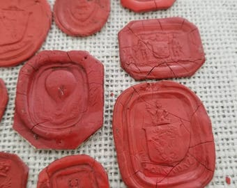 Collection of 10 antique Georgian and Victorian wax seal impressions S6 - Early Hot air balloon and Heraldic Crests