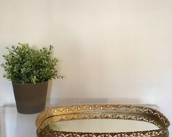 Vintage Oval shaped Brass Gold Mirrored Floral Flower Filigree Vanity PerfumeTray Victorian Hollywood Regency