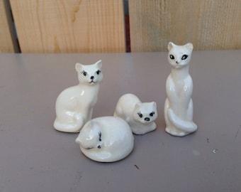Set of 4 vintage white kitties