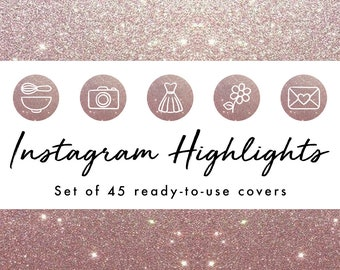 Instagram Story Highlight Icons - 45 Pink Glitter Covers | Fashion, Beauty, Lifestyle, Decor, Craft, Handmade, Bloggers, Influencers