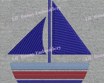 Filled Machine Embroidery - Nautical Sailboat Sailing Design Pattern Instant Download 4X4
