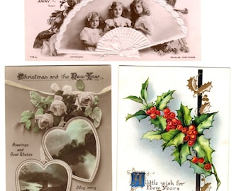 Three Antique Christmas Postcards