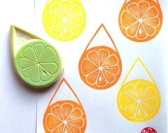 citrus slice rubber stamp | lemon lime orange drop | diy lemonade stand | summer birthday scrapbooking | hand carved by talktothesun