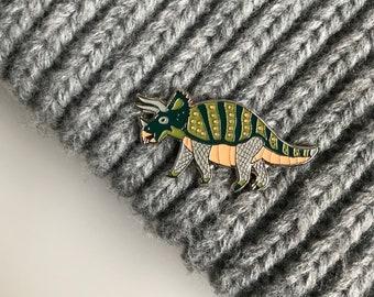 Dinosaur Pin - Triceratops Pin, Enamel Pin Badge, Dinosaur Badge, Hat Pin, Enamel Badge, Dinosaur Gift, Lapel Pin, Dinosaur Brooch, Dino pin