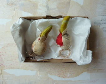 Two mini Spring bulb soft sculptures