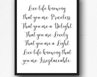 """Printable """"You are Irreplaceable"""" Quote, Inspirational Quote,Printable Wall Art , Dorm Room Decor, College Student Gift, Office Wall Art"""