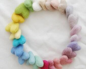 100% Wool Felt Heart - 25 Count - Approx 3cm - Assorted Light, Pale & Pastel Colours