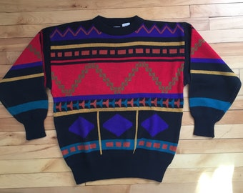 Vintage 1980s Men's Geometric Shapes Cosby Heathcliff Huxtable Black Knit Sweater! Size S