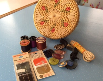 Vintage Sewing Basket - Retro Sewing Kit - Includes Buttons Threads Haberdashery - Craft Box - Wicker Basket