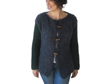 Boucle Wool Hand Knit Jacket Cardigan - Dark Green