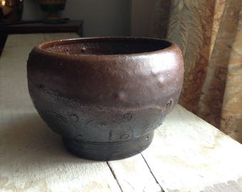 Vintage Hand Thrown Ash Glazed Pottery Bowl