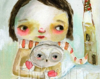 Quilla and Willow - mixed media art print by Mindy Lacefield