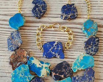 Turquoise Statement Necklace Set - Ocean and Sapphire Blue Necklace - Bib Jewelry