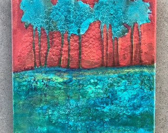 "10x10 upcycled mixed media painting. ""Red Dawn"" Cindy Sampson"