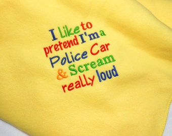 Baby blanket, soft fleece, funny police car, baby shower gift, personalize blanket, police baby gift, cop baby shower, crib blanket, boy or