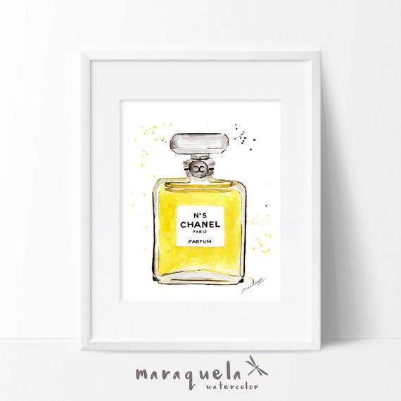 Chanel nº 5 Parfum bottle watercolor.Chanel n.5 original watercolor. Glamour art. Coco Chanel perfume, Modern art wall.Fashion Room Decor