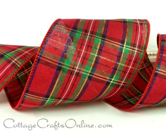 """Christmas Wired Ribbon,  4"""" Red, Gold Metallic, Green, Navy Blue Tartan Plaid  - THREE YARDS - Offray """"Carnegie""""  Craft Wire Edged Ribbon"""