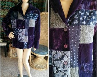 90's Purple Velvet Patchwork Jacket by Together with Original Tag (Never Worn), Patchwork Jacket, Patchwork Coat, Purple Bohemian Jacket, MD