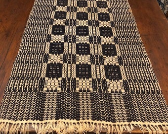 """Vintage Country Home Woven Wool Table Runner 45"""" x 19"""" With 3"""" Fringe"""