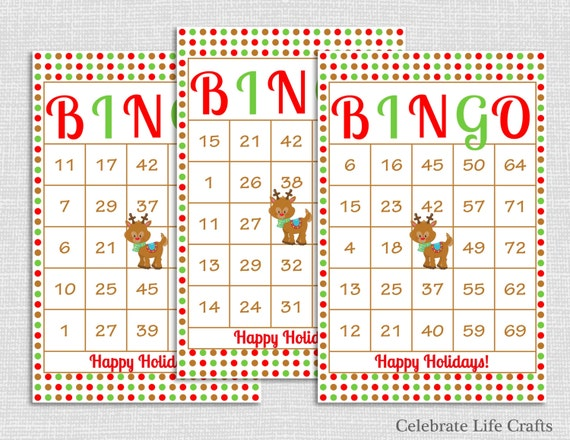 items similar to 100 rudolph christmas bingo cards diy printable game for christmas party instant download red green polka dot holiday bingo game ch011
