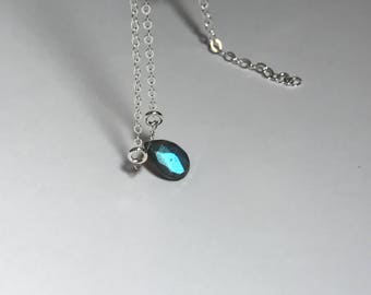 """Labradorite pear 18"""" Sterling silver necklace unwrapped dainty"""
