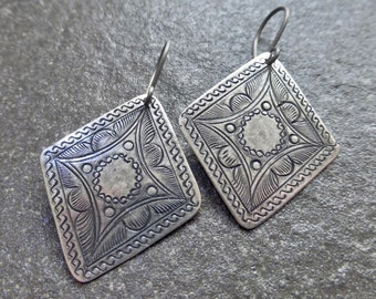 Antiqued Sterling Silver Plated Tin Etched Hill Tribe Diamond Shape Earrings - Hypoallergenic Titanium, Niobium OR Sterling Silver Ear Wires