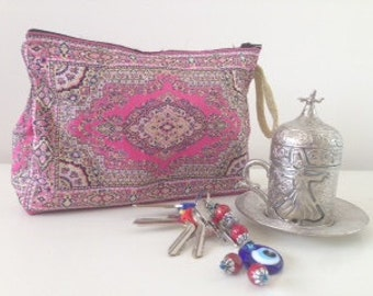 Traditional woven Turkish pouch - Turkish tapestry bag - Woven make up bag