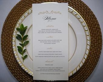 PRINTED WEDDING MENU | Gold and Black Table Menu | Wedding Table Menu | Autumn Wedding Menu | Elegant Fall Wedding Menu, Autumn Table Menu