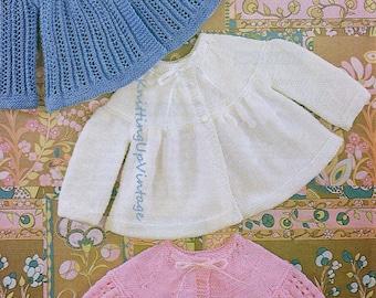 Baby Knitting Pattern pdf 3 Matinee Coats  Double Knit