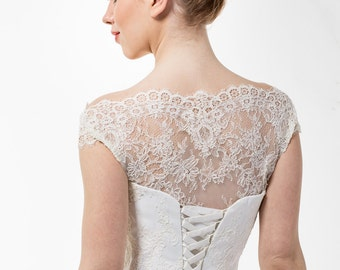 Romantic Light-As-Air Ball Wedding Gown with Chantilly Lace Corset, Illusion Off Shoulder Neckline, Closed Lace Back and Tulle Skirt