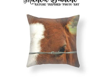 Horse Photo Pillow, Brown Horse Winking Toss Pillow, Horse Lover's Photo Pillow, Barn Animal Throw Pillow Cover, Pony Cushion Cover