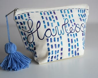 Hand painted flawless cosmetics pouch bag with zip