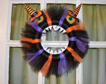 Halloween Monster Tutu Tulle Wreath