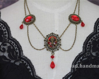 Gothic  Victorian Retro  SKULL Red Crystal Necklace Vampire Queen Costume Halloween Party - 0108-6MN