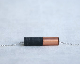 ÉMI // copper and black resin pendant on a silver metal chain