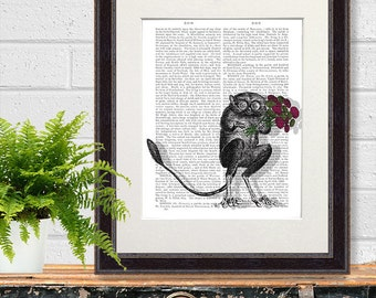 Monkey print - Freaky Flowers - monkey art print Tarsier valentines gift creepy gift creepy wall art funny animal boyfriend gift for men man