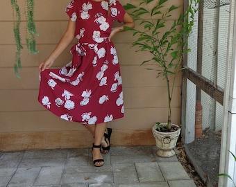Vintage Set /Floral Skirt & Shirt / Matching Belted Midi Full Skirt / Medium