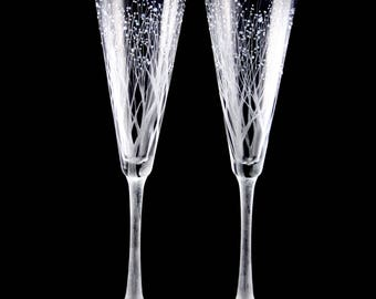 Hand Engraved Branches-n-Berries Wedding Toasting Flutes with optional personalization