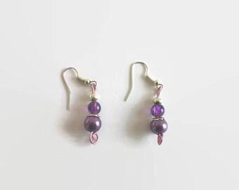 Mauve and purple bead earrings