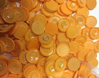 Medicine  flip off vial caps for crafts 100 pieces of orange 22mm size caps