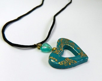 Turquoise Heart Pendant Turquoise Heart Necklace Heart Jewelry Valentine's Day Pendant