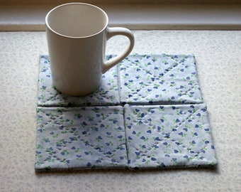 blue heart flowers mothers day hand quilted set of mug rugs coasters
