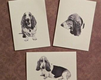 Set of 6 or 12 Handmade Blank Basset Hound Dog Print Note Cards